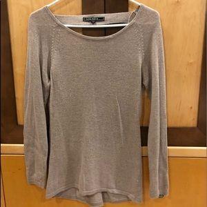 Long sleeve angora sweater in beige. Size medium.
